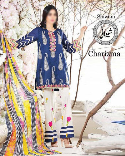 CHARIZMA EMBROIDERED COLLECTION WITH CHIFFON EMBROIDERED DUPATTA (Replica)(Unstitched)