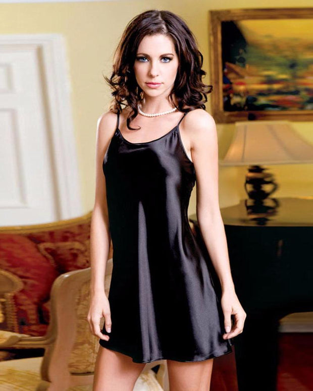Black Polyester & Satin Short Nighty - CHE08 BK - Nighty - diKHAWA Online Shopping in Pakistan