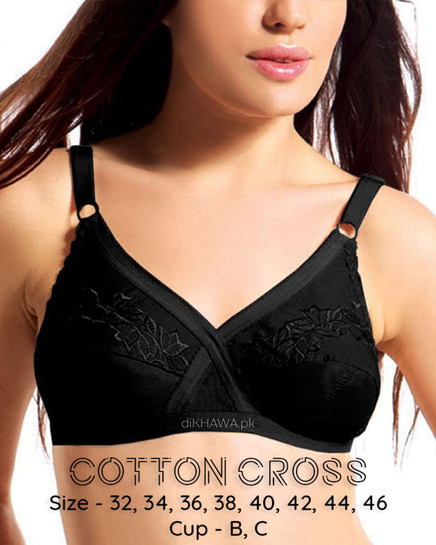 Cotton Cross - Flourish Bra - Non Padded Non Wired Embroidered Cotton Bra