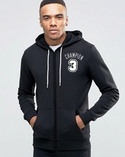 Champion 3 Black Hoodie for Mens - Winter Season Collection For Mens - Men Hoodies - diKHAWA Online Shopping in Pakistan
