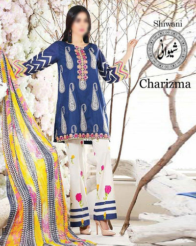Charizma Lawn Collection With Chiffon Embroidered Dupatta (Replica)(Unstitched)