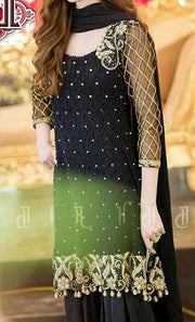 Black Opal Chiffon Heavy Embroidered Suit (Replica)(Unstitched)