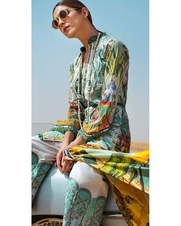 Crimson Lawn Master Repilca With Printed Chiffon Dupatta (Replica)(Unstitched)