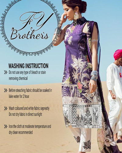 Cross Stitch Lawn Collection Master Copy With Digital Printed Silk Dupatta (Replica)(Unstitched)