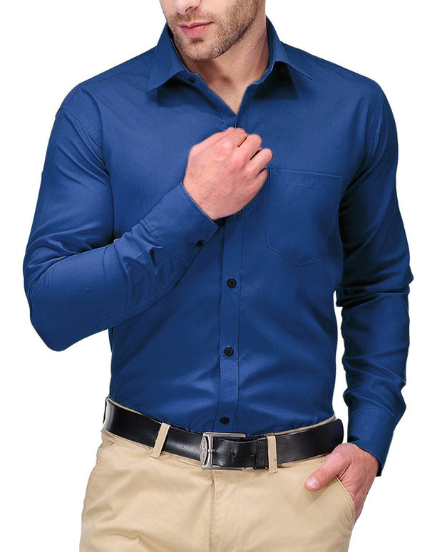 Mens Shirts Plain Dark Blue - Casual Shirts By Tommy Hilfiger