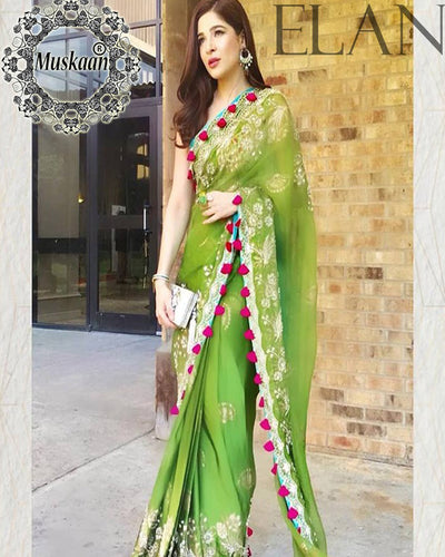 Elan Embroidered Net Saree (Replica)(Unstitched)