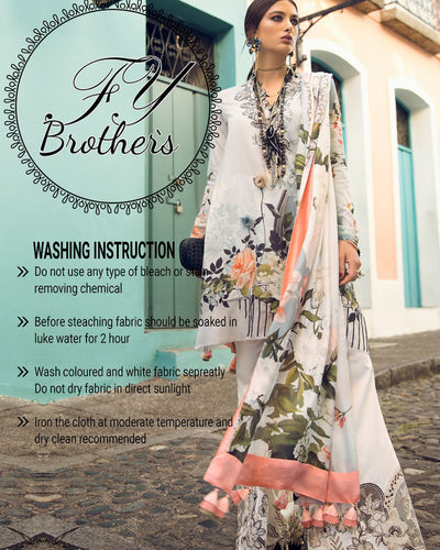 Elan Lawn Collection With Digital Printed Silk Dupatta (Replica)(Unstitched)