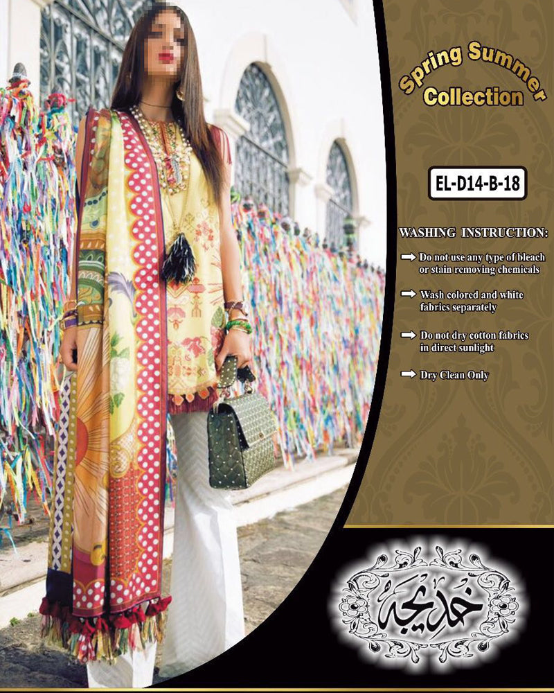 Elan Lawn Collection With Brochia Printed Dupatta EL-D14-B (Replica)(Unstitched)
