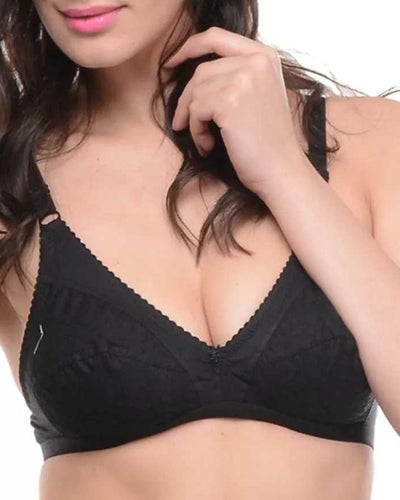 Embroidered Bra - 5501 - Bodycare - Black