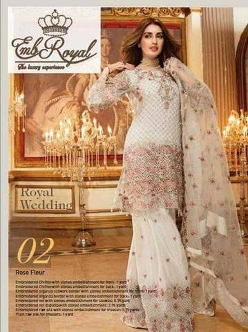ROYAL EMB CHIFFON SUIT (Replica) (Unstitched)