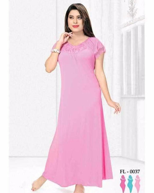 Pink Nighty - FL-0037 - Flourish Nightwear - Nighty - diKHAWA Online Shopping in Pakistan
