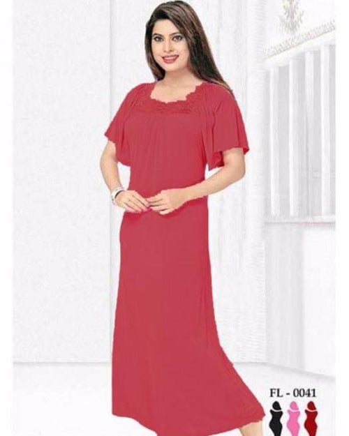 Maroon Flourish Nightwear - FL-0041 - Nighty - diKHAWA Online Shopping in Pakistan