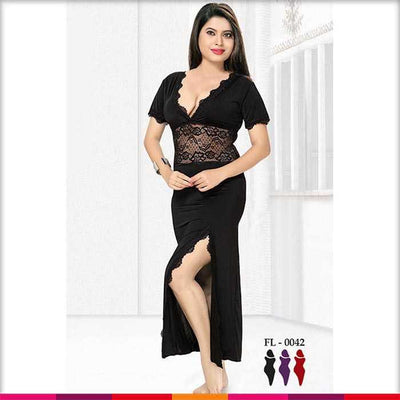 Black Nighty - FL-0042 - Flourish Nightywear - Nighty - diKHAWA Online Shopping in Pakistan