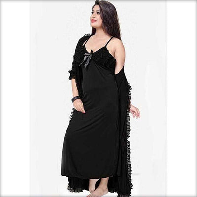 Black - FL-0044 - Flourish Nightwear - Nighty Sets - diKHAWA Online Shopping in Pakistan