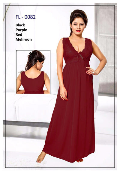 Flourish Nighty Maroon FL-0082 - 1Pc Bridal Nighty - Long Nighty