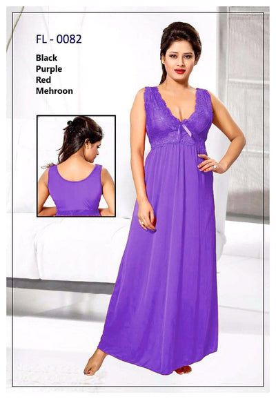Purple Stylish FL-0082 - Flourish Exclusive Bridal Nighty Set Collection-OFF