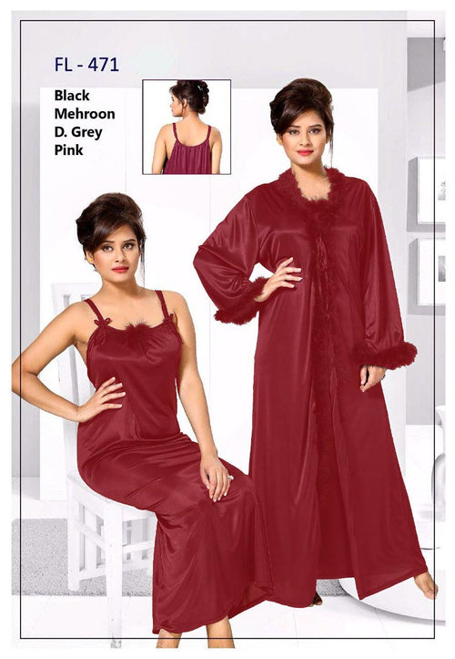 Pcs Maroon FL-471 - Flourish Exclusive Bridal Nighty Set Collection