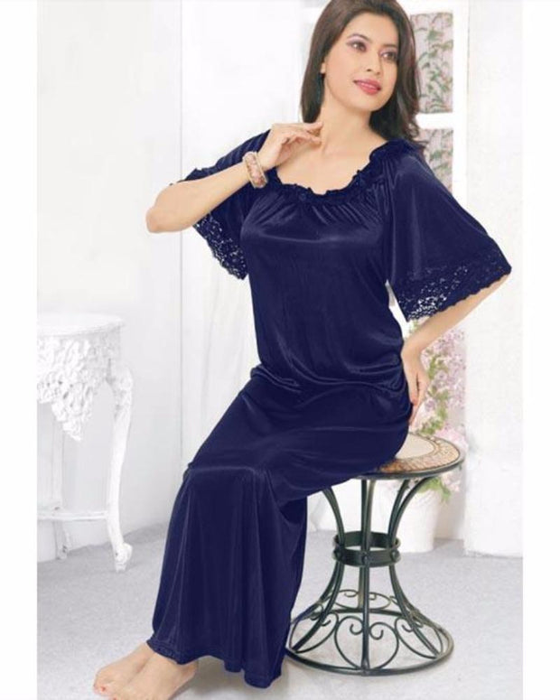 Navy Blue - FL-510 - Flourish Nightwear - Nighty - diKHAWA Online Shopping in Pakistan