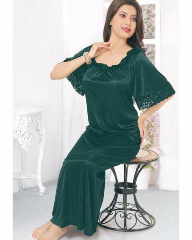 Green - FL-510 - Flourish Nightwear - Nighty - diKHAWA Online Shopping in Pakistan