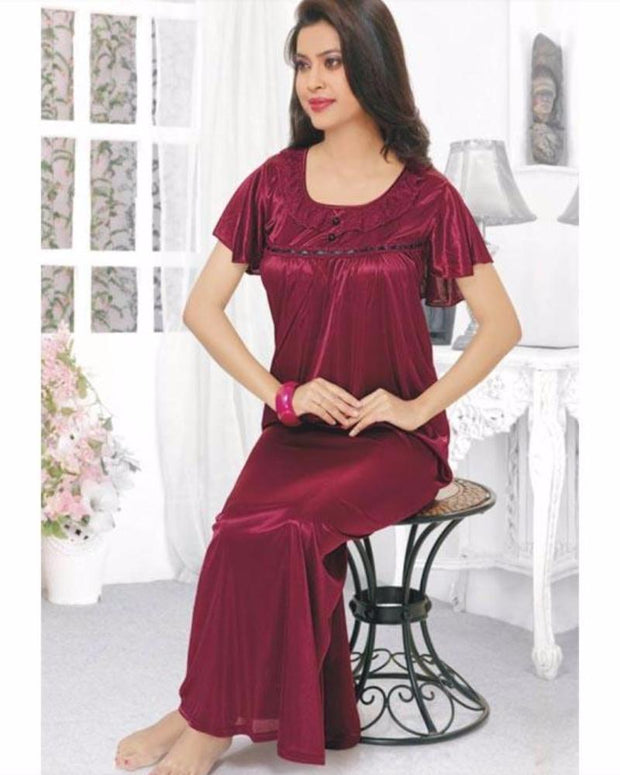 Flourish Long Nightwear - FL-514 - Nighty - diKHAWA Online Shopping in Pakistan