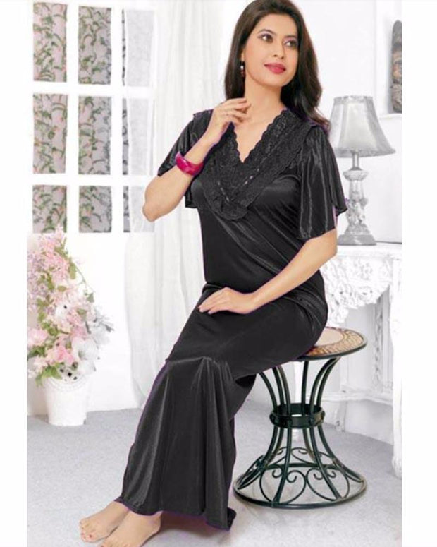 Flourish Silk Long Nightwear - FL-516 - Nighty - diKHAWA Online Shopping in Pakistan