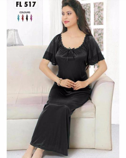 Flourish Long Silk Nightwear - FL-517 - Nighty - diKHAWA Online Shopping in Pakistan