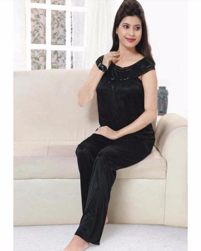 Flourish Silk Long Nighty For Women - FL-527 - Nighty - diKHAWA Online Shopping in Pakistan