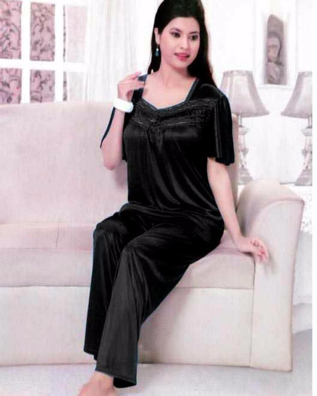 Black Nighty - FL-529 - Flourish Nightwear - Ladies Nightdress - diKHAWA Online Shopping in Pakistan
