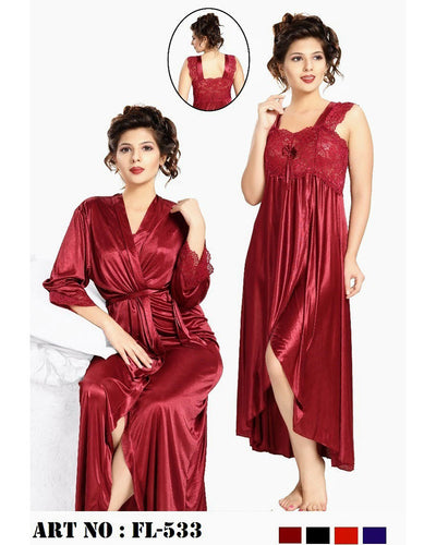 Nighty - FL-533 - Flourish 2 Piece Nightwear - Nighty Sets - diKHAWA Online Shopping in Pakistan