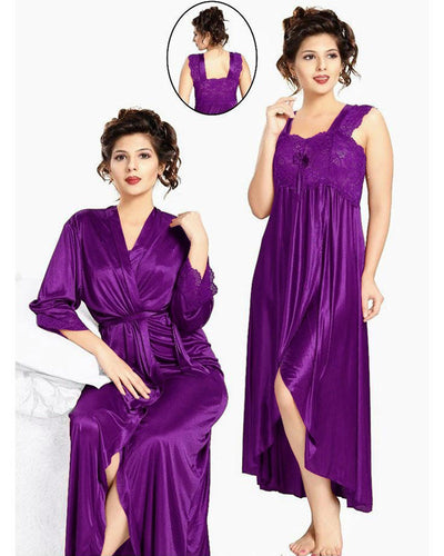 Flourish Nighty FL-533 - 2Pcs Bridal Nighty Set - Long Nighty