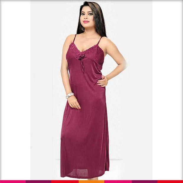 Maroon Nighty - FL-534 - Flourish 2 Piece Nightwear - Nighty - diKHAWA Online Shopping in Pakistan