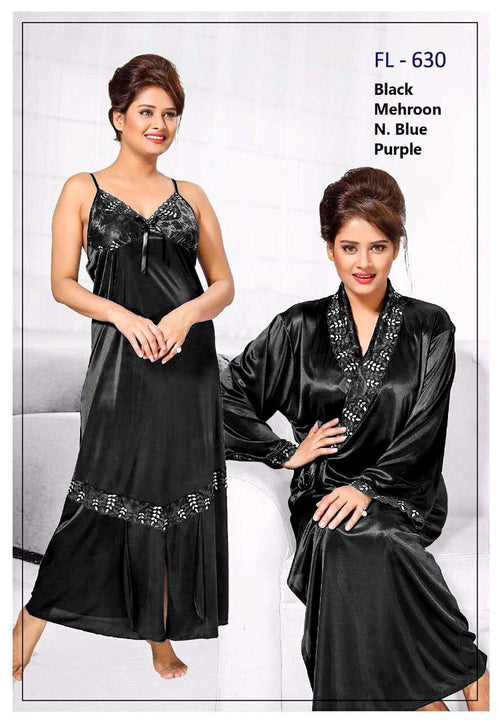 2 Pcs Black FL-630 - Flourish Exclusive Bridal Nighty Set Collection