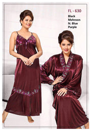 2 Pcs Maroon FL-630 - Flourish Exclusive Bridal Nighty Set Collection