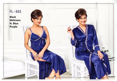 2 Pcs Blue FL-631 - Flourish Exclusive Bridal Nighty Set Collection