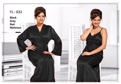 2 Pcs Black FL-632 - Flourish Exclusive Bridal Nighty Set Collection