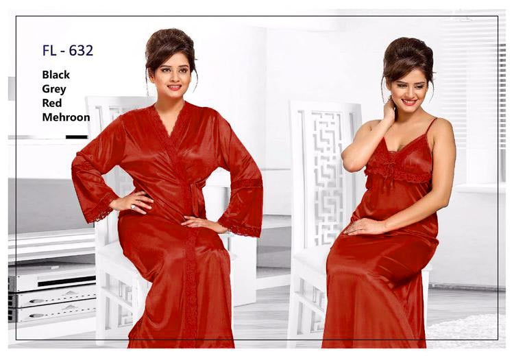 2 Pcs Maroon FL-632 - Flourish Exclusive Bridal Nighty Set Collection