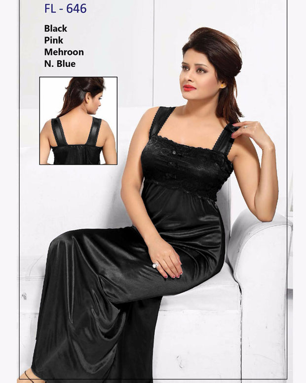 Black Stylish FL-646 - Flourish Exclusive Bridal Nighty Collection