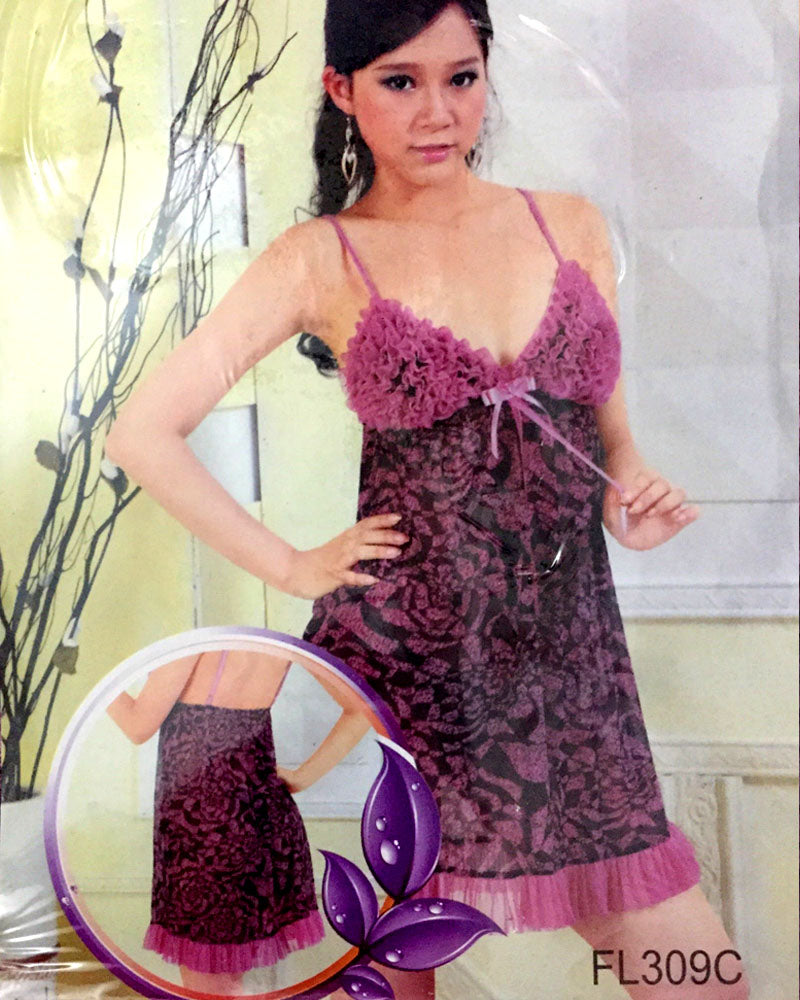 Romantic Floral Print Short Nighty For Women - FL309C
