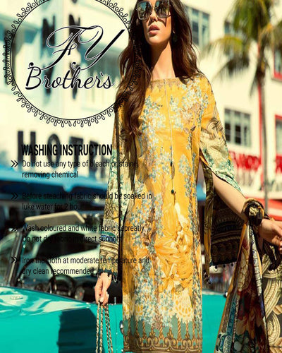 Faraz Manan Lawn With Digital Printed Silk Dupatta (Replica)(Unstitched)
