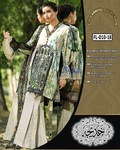 Firdous Collection With Chiffon Dupatta FL-D10 (Replica)(Unstitched)