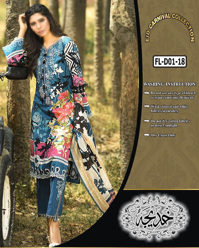 Firdous Collection With Chiffon Dupatta FL-D01 (Replica)(Unstitched)