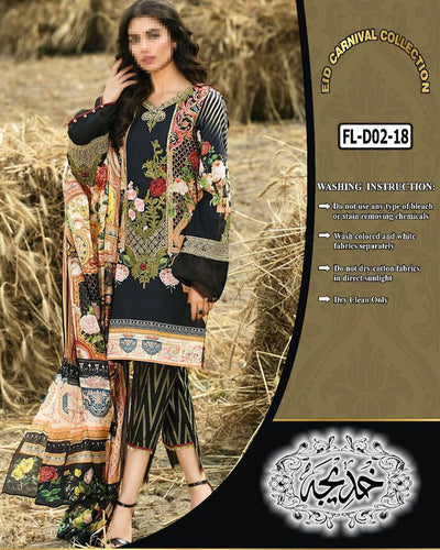 Firdous Collection With Chiffon Dupatta FL-D02 (Replica)(Unstitched)
