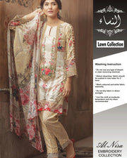 Firdous Lawn With Broshia Dupatta (Replica)(Unstitched)