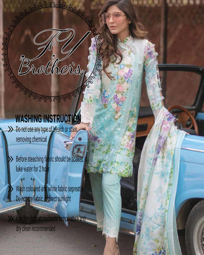 Firdous Lawn Collection Master Copy With Digital Printed Silk Dupatta (Replica)(Unstitched)