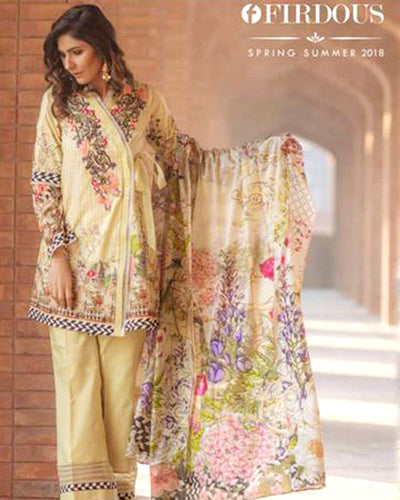 Firdous Lawn With Printed Cotton Net Dupatta (Replica)(Unstitched)