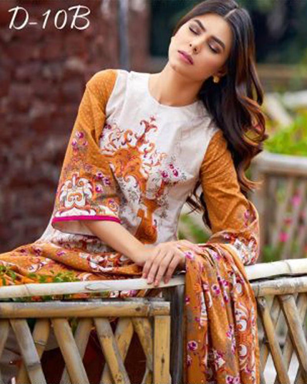 D'vine Lawn Suits 3 Piece - 10-B (Original) (Unstitched)
