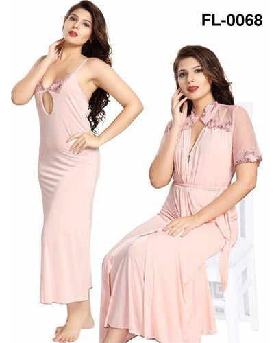 Flourish Nighty FL-0068 - 2Pcs Bridal Nighty Set - Long Nighty