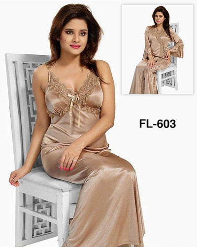 Flourish Nighty FL-603 - 2Pcs Bridal Nighty Set - Long Nighty