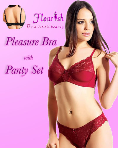 Pleasure Bra Panty Set - Flourish Bra - Net Panty And Bra - See Through Bra - Non Padded Non Wired Bra