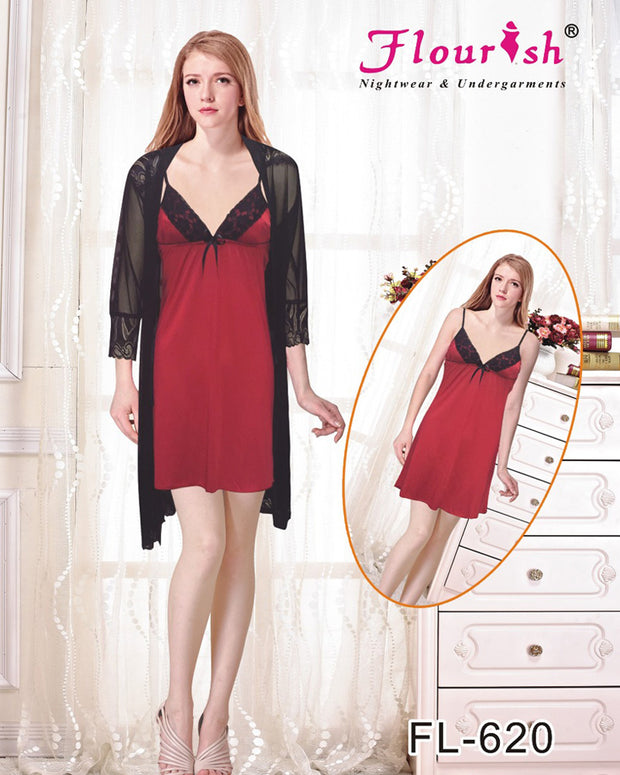 Sexy Short Nighty - FL-620- Flourish Sleepwear Nighty